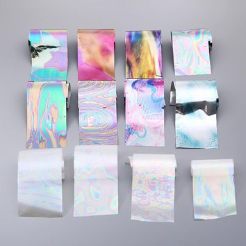12 Colors/Lot Latest Holographic Glass Nail Foils Shiny Laser Foils Transfer Candy Color Nail Sticker mirror foil nail beauty