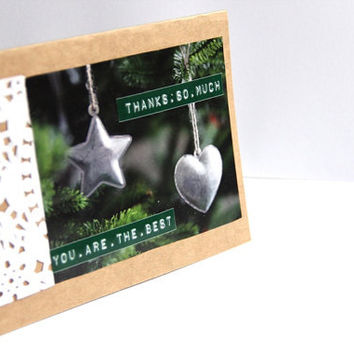 Christmas Thank You Card - Eco-Friendly Card Set - Handmade Holiday Cards - Buy 3 Get 1 & Free Shipping