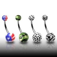"316L Surgical Stainless Steel Belly Rings with Printed Balls - American Flag - 14G - 7/16"" Bar Length - Sold Individually"