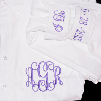 Monogram Bride Shirt Button Down for Wedding Day  Personalized Bride Shirt Getting Ready Shirt
