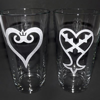 Sandblasted Kingdom Hearts Pint Glass Set