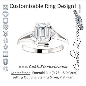 Cubic Zirconia Engagement Ring- The Erma (Customizable Emerald Cut 3-stone Style with Small Round Cut Accents and Tapered Split Band)