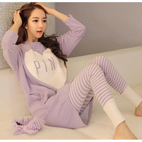 Women's pajamas cotton clothing set,sweet nightwear sleepwear = 1929878788