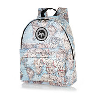 River Island MensBlue Hype map print backpack