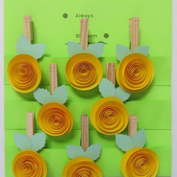 Bright yellow clothespin magnets, 8 kitchen gadget bag clip, party games, hostess gift, bridal and baby shower decor wish tree hangers