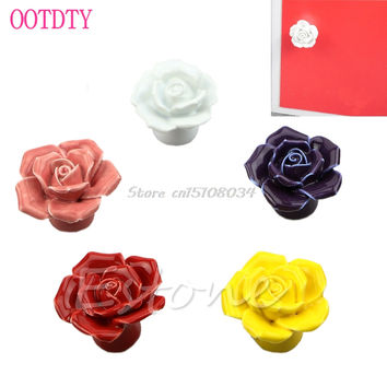 New Rose Flower Cupboard Door Drawer Vintage Knob Ceramic Cabinet Handle #S018Y# High Quality