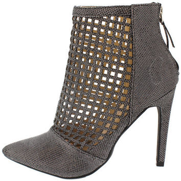 STEPPUP16 PEWTER LASER CUT OUT POINTED ANKLE BOOT