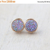 Druzy Studs, Lavender Quartz Petite Post Earrings in Gold, Silver, Rose Gold, Gift Ideas - Frozen Fig