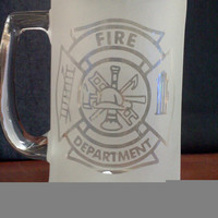 Fire Fighter Sandblast Frosted 15 ounce Mug by ThatGlassStore