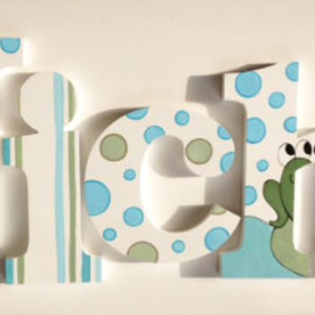 Froggy, Polka Dot and Stitched Wooden Wall Name Letters / Hangings, Hand Painted for Boys Rooms, Play Rooms and Nursery Rooms