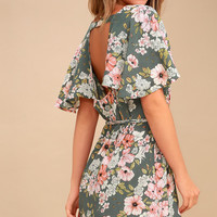Fine Flutter Sage Green Floral Print Mini Dress