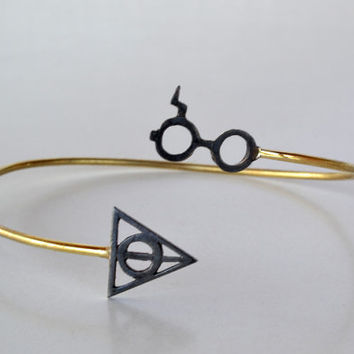 Harry Potter Cuff-Deathly Hallow Bracelet-Harry Potter- Black Lightning Scar Glasses-Geek Fashion Jewelry Sterling Silver Brass-Gift Idea