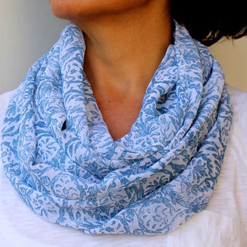 Blue Floral Scarf Lightweight Spring Scarf  Gift Ideas Women's Scarves  Infinity Scarf  Loop Circle Scarf