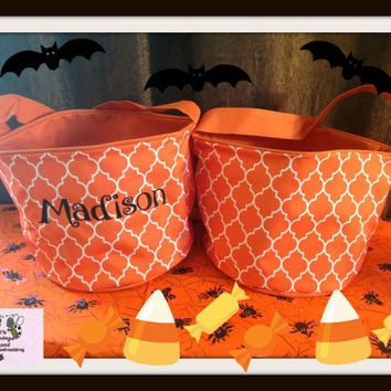 ORANGE Quatrefoil  personalized embroidered Basket , Quatrefoil Bucket ,Halloween Trick or Treat Bucket