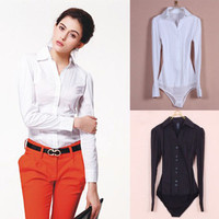 ew Women's Elegant Long sleeve Cotton OL Bodysuit Shirt Blouse Button Design