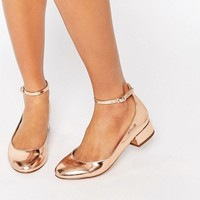 Blink Ankle Strap Low Heeled Ballerina Shoes at asos.com