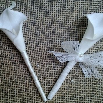 Ivory Calla Lily Boutonniere Corsage Vintage Lace Rustic Set, Ivory boutonniere, Ivory Corsage, Lace Corsage, Vintage Wedding Ivory Groom