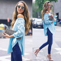 Sexy Summer Style Fashion Women Boho Tee Off Shoulder T-shirt Casual Top Blouse