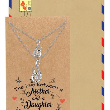 Rosita Mermaid Tail Crystal Pendant Mother Daughter Set of 2 Necklaces, Inspirational Greeting Card
