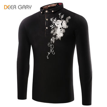 Men's Embroidered Print On Long-sleeved Henley/Polo Shirt- 3 Colors