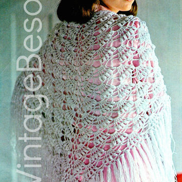Evening Shawl INSTANT DOWNLOAD PDF Vintage Crochet Pattern Retro