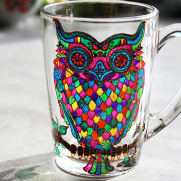 Tea Mug Owl Coffee Mug Handmade Mug Personalized Mug Gift Mugs Funny Coffee Mug Handpainted Mug Birthday Mug Home Decor Mug Coworker Gift