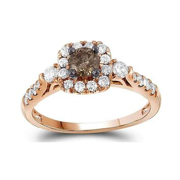 14kt Rose Gold Women's Round Cognac-brown Color Enhanced Diamond Solitaire Bridal Wedding Engagement Ring 3/4