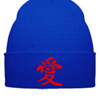 LOVE CHEENESE EMBROIDERY HAT  - Beanie Cuffed Knit Cap
