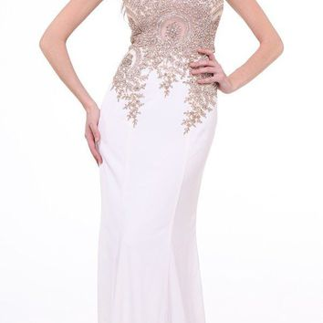 Cinderella Divine 35 Illusion Bateau Neck Embroidered Bodice Cream Floor Length Prom Dress