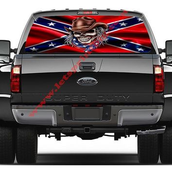 Confederate Flag Rebel Skull Rear Window Decal Graphic
