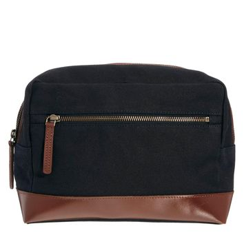 ASOS Canvas and Leather Wash Bag