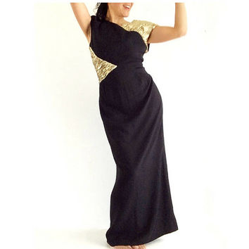 Vintage Valentino dress, Black long gown, black long dress, long evening dress, party dress, formal gown, mermaid dress women, Designer