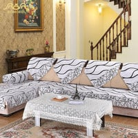 ROMORUS Europe Striped Quilted Sofa Cover Armrest Slipcover White Fabric Couch Covers Set Sectional Seat Covers Towel for Home