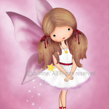 Girls room decor, kids wall art, children's decor, art for children, fairy wall art, angel, baby girl wall art