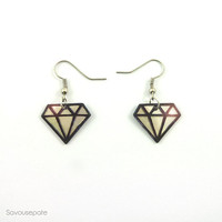 OLWEN recycled CD diamonds earrings   Iridescent and black Little graphic diamonds   Jewelry by Savousepate