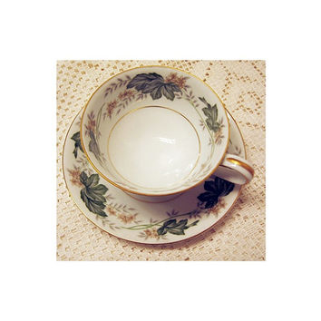 Noritake Daphne Footed Tea Cup & Saucer vintage 1952 1960 Green White Beige Floral Gold Rim Occupied Japan Mid Century