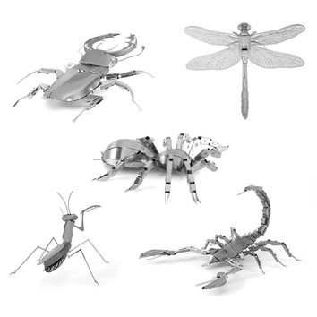 Mini Fun 3D animal insect Mantis Scorpion Stag Beetle Dragonfly Metal Puzzle Adult Models Educational Toy CX880101