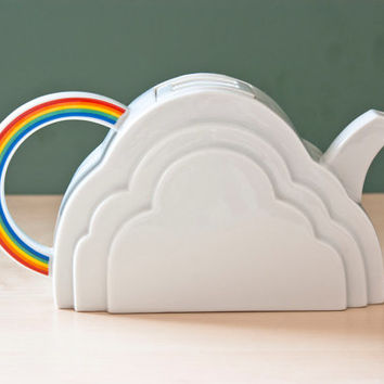 Vintage Vandor San Francisco Cloud and Rainbow Shaped Teapot, Made in Japan, 1970s