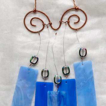 Wind chime,#Etsygifts stained glass wind chime, glass wind chime, garden art, blue wind chime