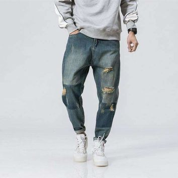 Mens Ripped Low-Waist Loose Distressed Ripped-Hole Denim Jeans