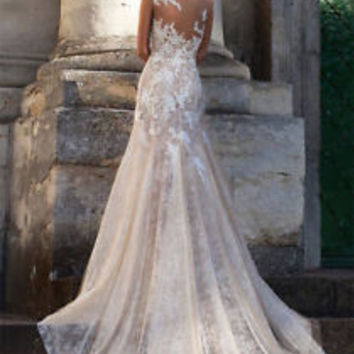 Sheer Neck Champange Lace Wedding Dress Gown Spring Country Bridal Dress