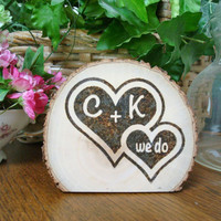 Personalized Cake Topper Rustic Wedding Wood Burned We Do Romantic