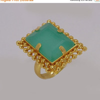 25% SALE 18K Gold Plated Ring - Aqua Chalcedony Ring - Prong Set Ring - Modern Designer Ring - Large Cocktail Ring - Womens Ring - Birthday
