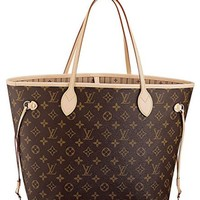 Louis Vuitton Neverfull MM Monogram Canvas Handbag Shoulder Bag Tote Purse H
