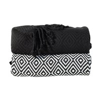 Elegancia Diamond Weave Cotton Throw Blanket