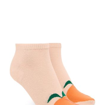 Peach Graphic Ankle Socks