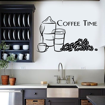 Wall Sticker Vinyl Decal Great Decor Quotes for Kitchen Coffee Time (ig1194)