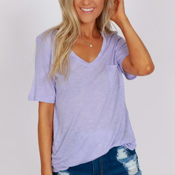 Pocketed Boyfriend Tee Iris Lilac