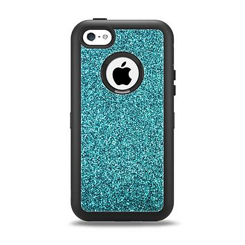 The Teal Glitter Ultra Metallic Apple iPhone 5c Otterbox Defender Case Skin Set