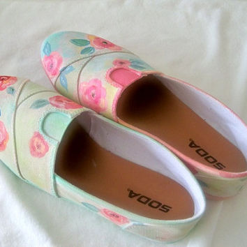 Canvas flats, shabby chic canvas shoes,pull on flats, hand painted shoes, floral flats,  rose flats, watercolor shoes, size 8 1/2 flats